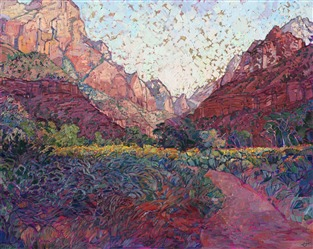 Zion National Park oil painting with gold leaf by contemporary impressionist artist Erin Hanson