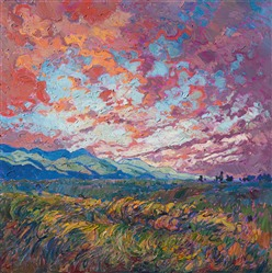 Dawn Lights, original oil painting by dramatic landscape painter Erin Hanson