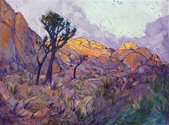 Joshua Tree National Park original oil painting of California's desert landscape, by Erin Hanson.
