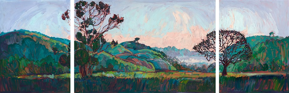 Beautiful Paso Robles painting of rolling hills and mist in the background by contemporary artist Erin Hanson