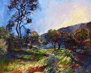 Brilliant color and expressive brush strokes capture Paso Robles in a new style of oil painting, open impressionism
