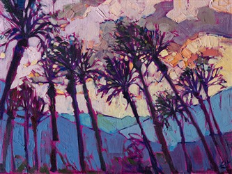 La Quinta palm trees oil painting by modern impressionist Erin Hanson
