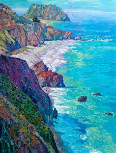 Highway 1 California coastal oil painting by modern master impressionist Erin Hanson.