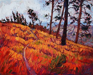Zion backpacking inspired artwork by oil painter Erin Hanson