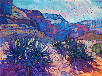 Small oil painting of the Grand Canyon, by American impressionist Erin Hanson.