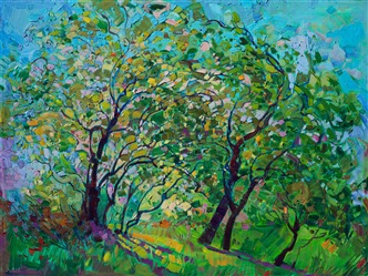 Oak tree landscape painting by modern expressionist Erin Hanson