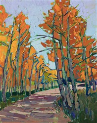 Colorado aspen grove oil painting by modern impressionist Erin Hanson