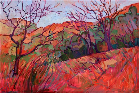 Abstract impressionism landscape painting of Zion National Park, by Erin Hanson