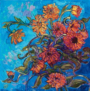 Orange floral blossoms painted in an expressive, impressionistic style, by artist Erin Hanson.