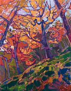 Japanese maple trees painted in a modern impressionistic style, by Erin Hanson