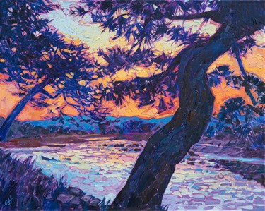 Kyoto Japan oil painting by modern landscape oil painter Erin Hanson