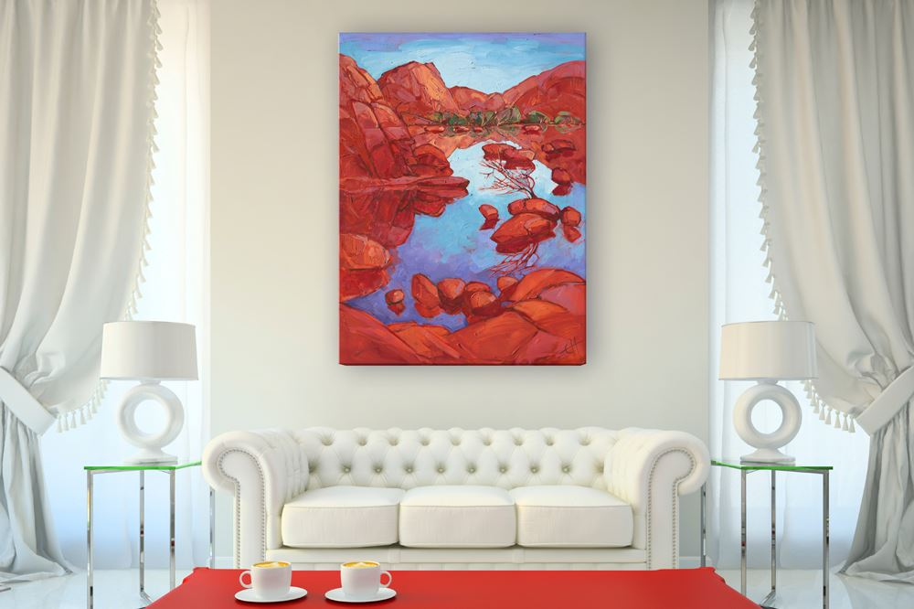 Here are some inspirational ideas for designing around an Erin Hanson  painting.