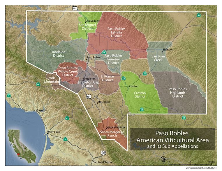 Map of the Paso Robles America Viticultural Area