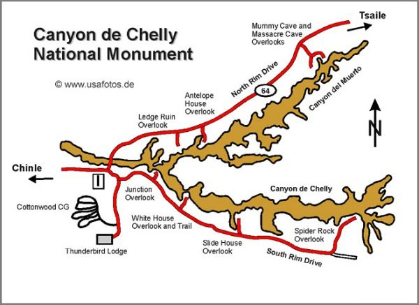 Map of popular points of interest along Canyon de Chelly