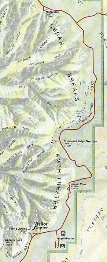 Close up map of UT-148 through Cedar Breaks National Monument