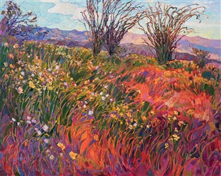 Super Bloom oil painting of Borrego Springs, Califonria desert.
