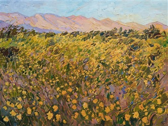 Yellow desert flowers at the Borrego Springs super bloom, original oil painting by Erin Hanson