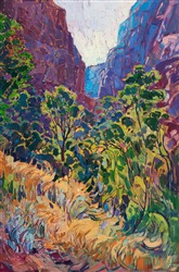 Oil painting of Kolob Canyon, by impressionist Erin Hanson.