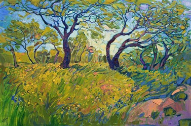 A modern post-impressionism oil painting of Texas Hill Country