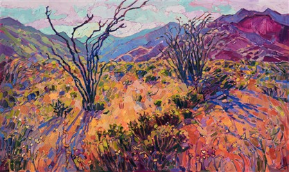 Desert super bloom painting by American impressionist Erin Hanson.