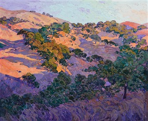 Napa Valley oak trees rolling hills impressionism oil painting