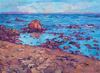 Original impressionistic oil painting of Monterey's iconic oceanside view by contemporary artist, Erin Hanson.