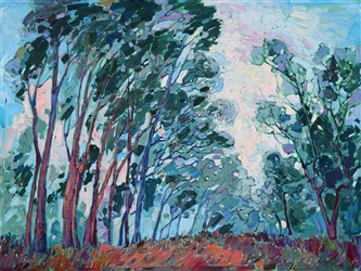 Scripps Ranch eucalyptus trees in the fog, San Diego scenery painting by Erin Hanson