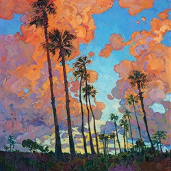 San Diego Palms oil painting for investment art by modern impressionist painter Erin Hanson